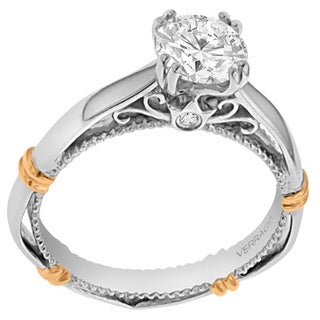 Verragio 14k Two-tone Gold Cubic Zirconia and Diamond Accent Solitaire Engagement Ring (F-G, VS1-VS2)