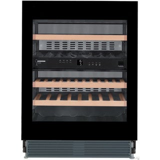 Liebherr WUgb 3400 Vinidor 24 inch Wine Cabinet Two Temperature Zone with Black Glass Door and Touch to Tip Open
