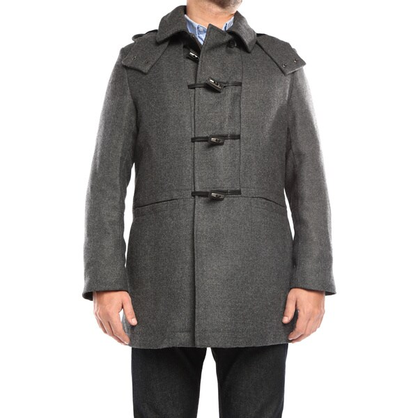 Verno Walt Men's Grey Wool Hooded Toggle Overcoat