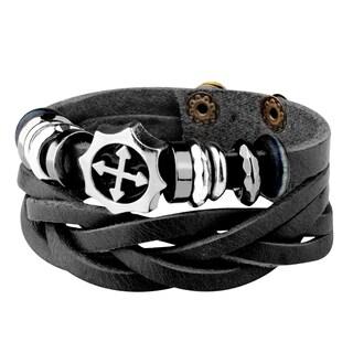 Zodaca Punk Rock Men Women Geniune Leather Enamel Cross Charm Bracelet Wrap Wristband Cuff Woven Multilayer Bangle