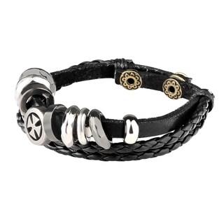 Zodaca Genuine Leather Cross Infinity Charm Wrap Women Men Cuff Bracelet Bangle Jewelry Tribal Punk