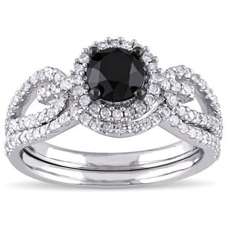 Miadora 10k White Gold 1 1/2ct TDW Black and White Diamond Halo Bridal Ring Set (G-H, I2-I3)