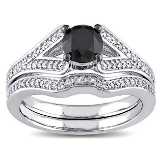 Miadora 10k White Gold 1 1/4ct TDW Black and White Diamond Bridal Ring Set (G-H, I2-I3)