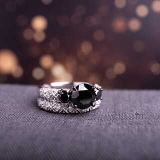 Miadora Signature Collection 10k White Gold 3ct TDW Black and White Diamond 3-stone Bridal Ring Set (G-H, I2-I3)