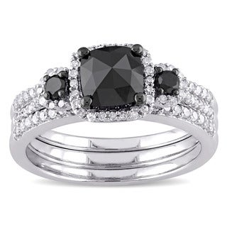 Miadora Sterling Silver 1 3/4ct TDW Cushion-cut Black and White Diamond Halo Bridal Ring Set (G-H, I2-I3)