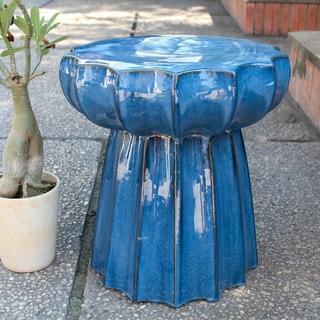International Caravan Round Scalloped Ceramic Garden Stool