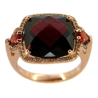 Kabella 14K Rose Gold Garnet and 1/10 TDW Diamonds Ring (G-H, SI2)