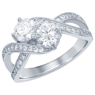 La Preciosa Sterling Silver Two-stone Cubic Zirconia Side-by-Side Engagement Ring