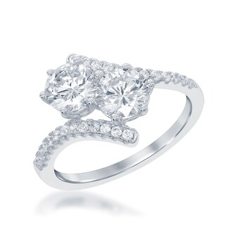 """La Preciosa Sterling Silver Cubic Zirconia Two-stone """"By your side"""" Engagement Ring"""