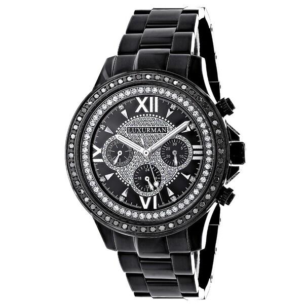 Luxurman Mens 2ct Diamond Black Chronograph Watch