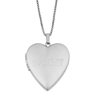 Fremada Rhodium Plated Sterling SIlver 'Mom' Heart Locket 18-inch Necklace