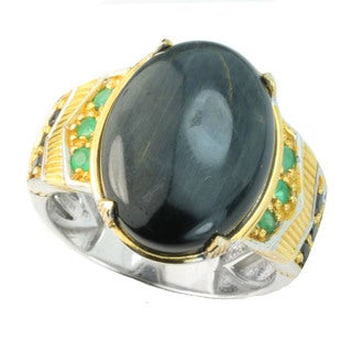 One-of-a-kind Michael Valitutti Blue Tigers Eye, Emerald and Black Spinel Men's Ring (Size 9.5)