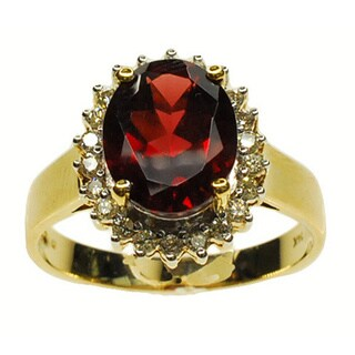 Kabella 14k Yellow Gold Garnet and 1/4ct TDW Diamond Ring (G-H, SI1-SI2)