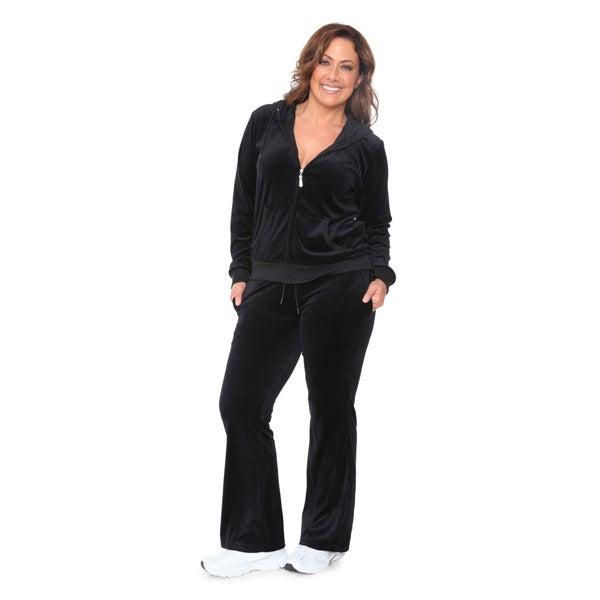 White Mark Women's Plus Size Velour Suit 3XL in Black (As Is Item)