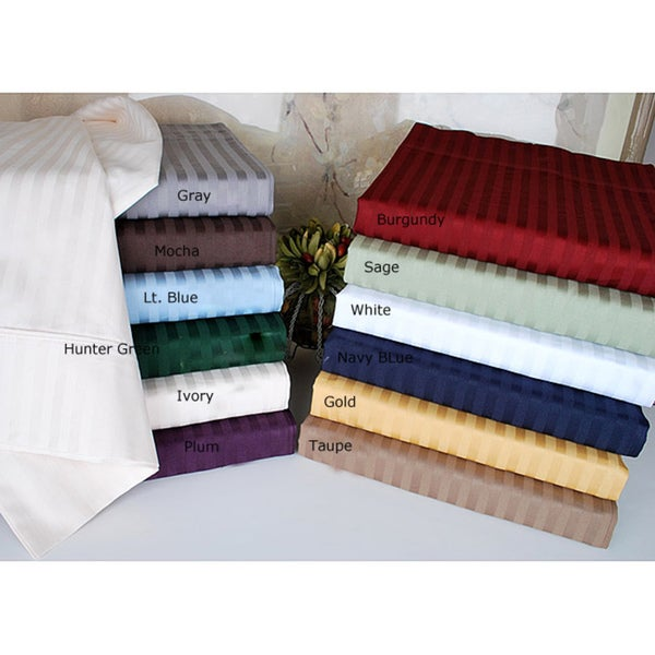Luxor Treasures Egyptian Cotton 400 Thread Count Striped Split King-size Sheet Set in Mocha (As Is Item)