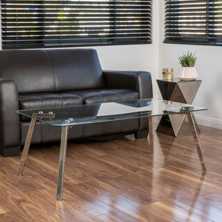 Christopher Knight Home Sabatay Tempered Glass Rectangle Coffee Table