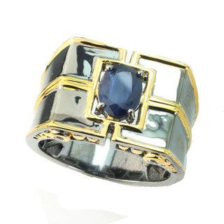 One-of-a-kind Michael Valitutti Blue and White Sapphire Men's Ring (Size 10)
