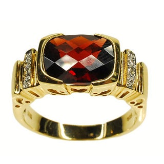Kabella 14k Yellow Gold Garnet and Diamond Accent Ring