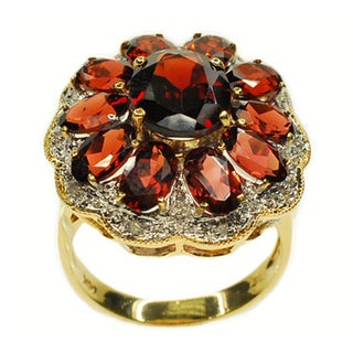 Kabella 14k Yellow Gold Oval Cluster Garnet and Diamond Accent Ring