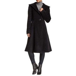 Vera Wang Women's Isabella Black Wool Fit and Flare Dress Coat