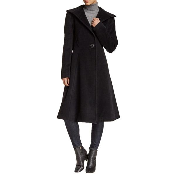 Vera Wang Women's Isabella Black Wool Fit and Flare Dress Coat