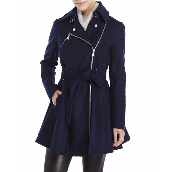 BCBG Generation Navy Blue Wool Skirted Coat
