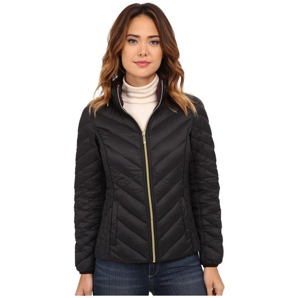 Michael Kors Black Chevron Quilted Hidden Hood Packable Puffer Jacket (Medium)