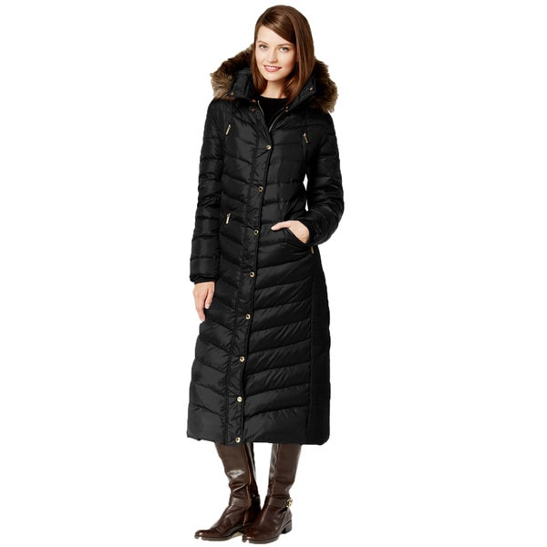 Michael Kors Black Faux Fur Hooded Maxi Coat