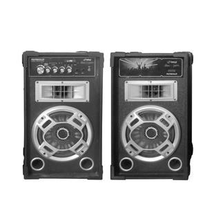 Pyle PSUFM826LED Disco Jam Dual Bookshelf Stereo Speaker System with USB/SD/MP3 Streaming FM Radio and Flashing DJ Lights