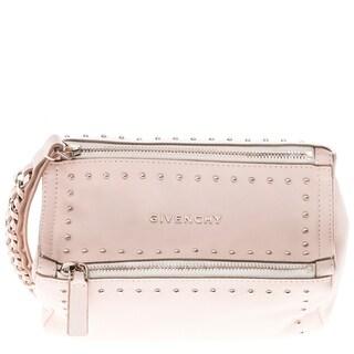 Givenchy Pink Leather Studded Pandora Wristlet