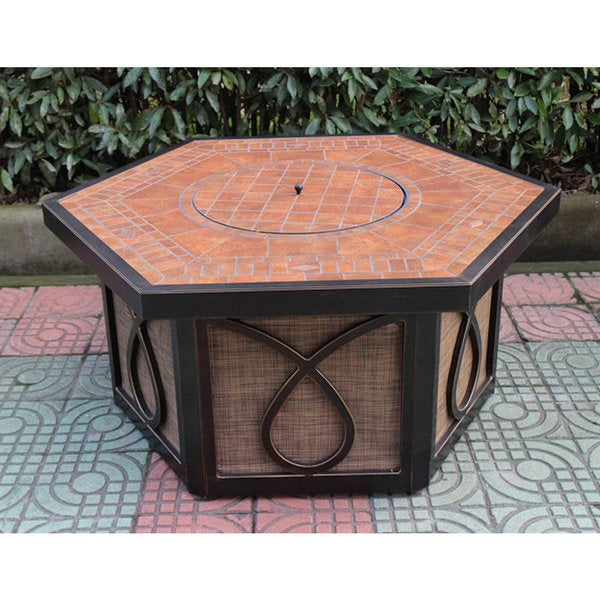Bombay Outlet Beverly Tile Top Gas Fire Pit Table
