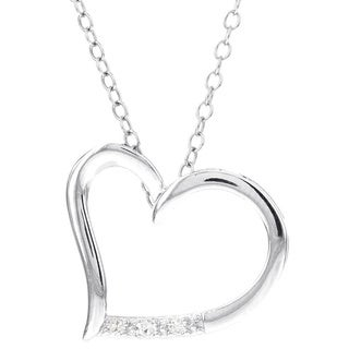 H STAR Sterling Silver Diamond Accent Heart Pendant (I-J, I2-I3)