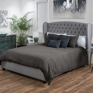 Christopher Knight Home Alberta Tufted Fabric Wingback King Bed Set