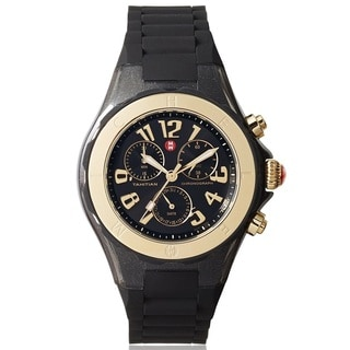 Michele Women's MWW12F000076 'Tahitian Jelly Bean' Chronograph Black Rubber Watch