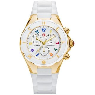 Michele Women's MWW12F000043 'Tahitian Jelly Bean' Chronograph White Silicone Watch