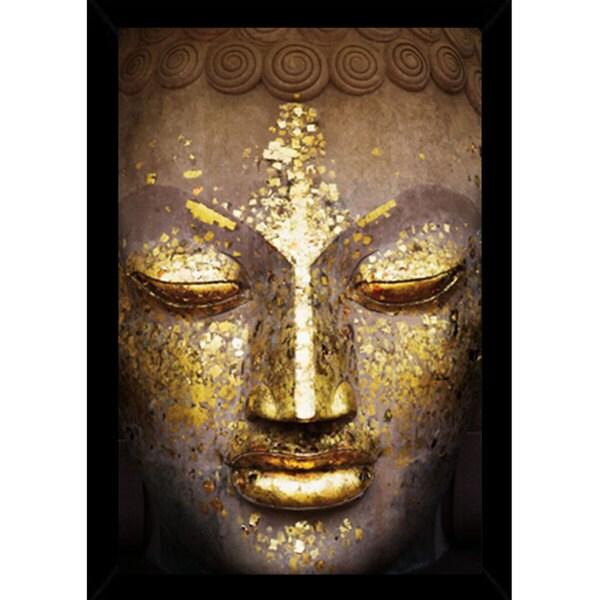 Buddha Print (24-inch x 36-inch) with Traditional Black Wood Frame