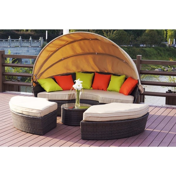 Sausalito Wicker Convertible Daybed with Canopy