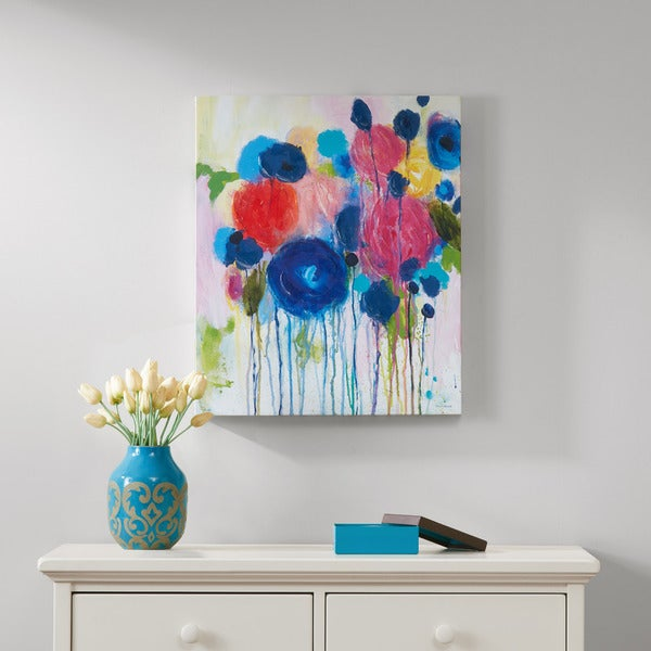 Intelligent Design Hearts and Flowers Hand Embellished Canvas
