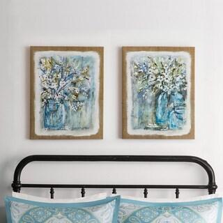 Madison Park Burlap Blossoms Gel Coat Canvas 2-Piece Set