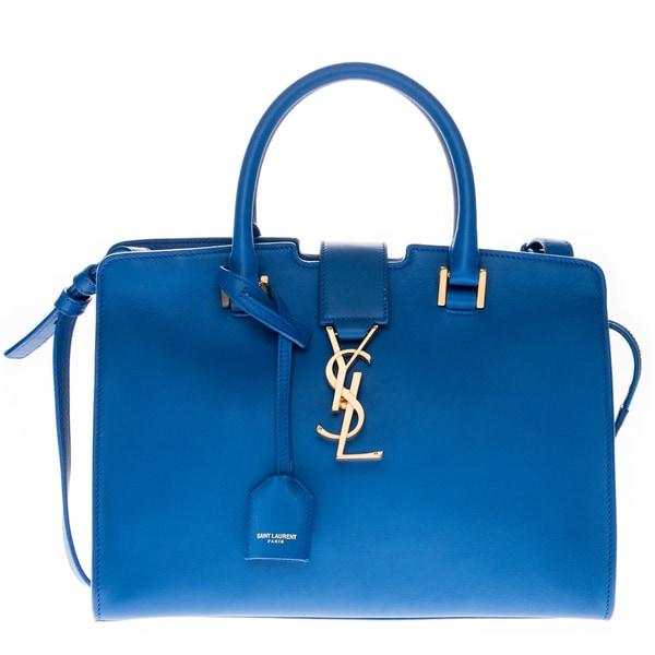 Yves Saint Laurent Royal Blue Leather Baby Monogram Cabas Bag