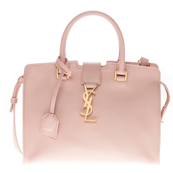 Yves Saint Laurent Leather Pink Baby Monogram Cabas Bag