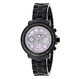 Luxurman Black Stainless Steel Women's 2 1/6ct TDW Black Diamond Watch