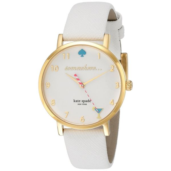 Kate Spade Women's 1YRU0765 'White 5 O'Clock Metro' White Leather Watch