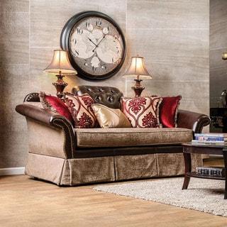 Furniture of America Keddman Formal Two-Tone Tufted Loveseat