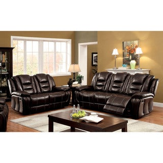 Furniture of America Chestler Transitional 2-piece Dark Brown Leatherette Reclining Sofa Set