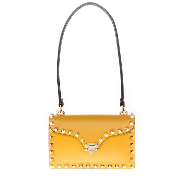 Valentino Yellow Leather Mini 'Rockstud' Crossbody Bag
