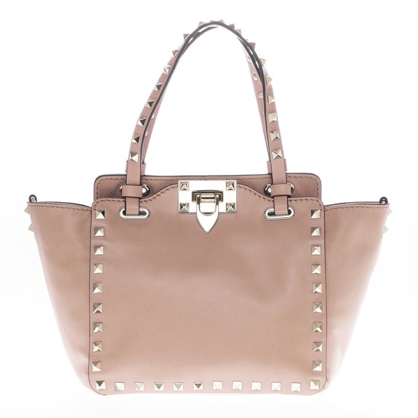 Valentino Mini Rockstud Nude Pink Leather Tote Handbag