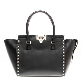 Valentino Small Rockstud Double Handle Black Leather Handbag