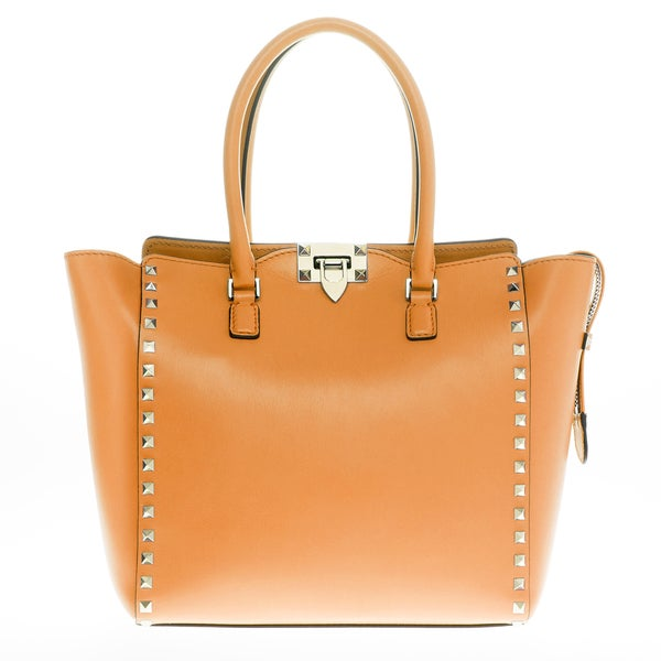 Valentino Mustard Leather Rockstud Double Handle Bag