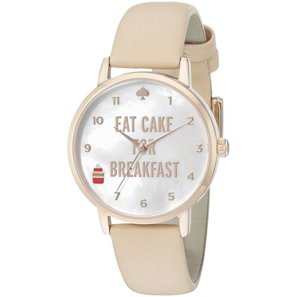 Kate Spade Women's 1YRU0892 'Metro' Eat Cake for Breakfast Beige Leather Watch